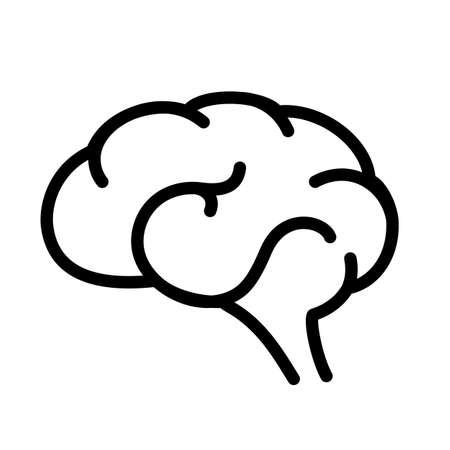 Brain outline vector icon Illustration