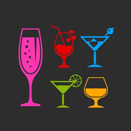 Set di icone vettoriali cocktail bar