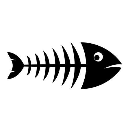 Fish bones black silhouette