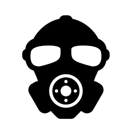Rubber military respirator vector icon