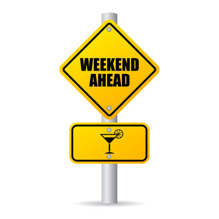 Weekend ahead fun road sign 向量圖像