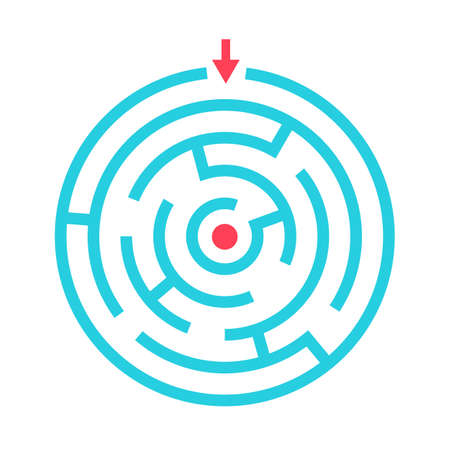 Round maze game vector pictogram