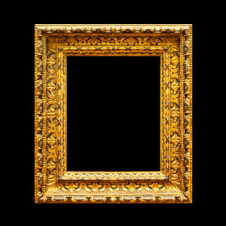 Old ornate wooden frame isolated on black background