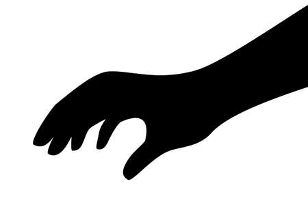 Touching hand vector silhouette