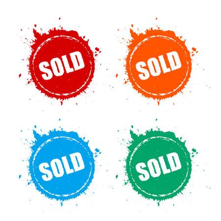 Sold splattered grunge vector circle set Stock Illustratie