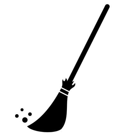 Broom cleaning vector icon Illustration