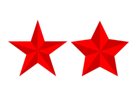 Red review rating stars vector set