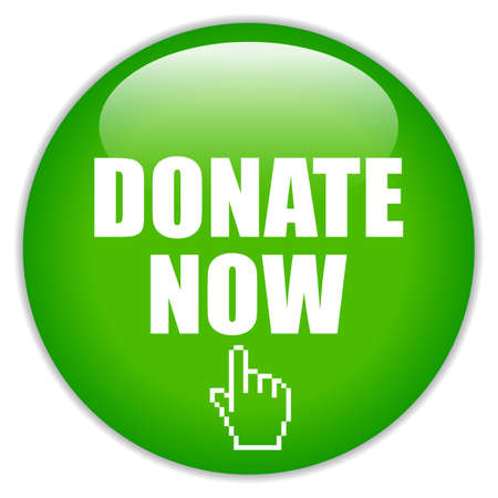 Donate now green glass icon