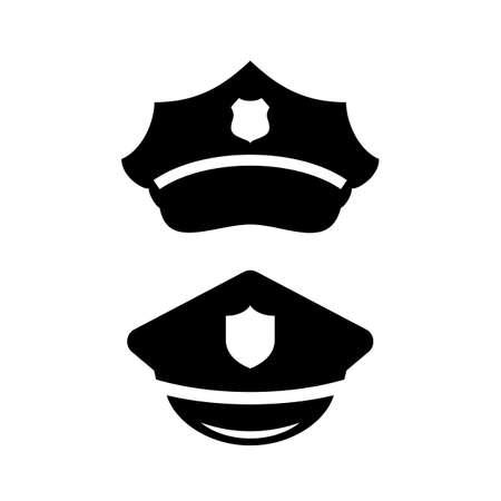 Policeman peaked cap vector icon set