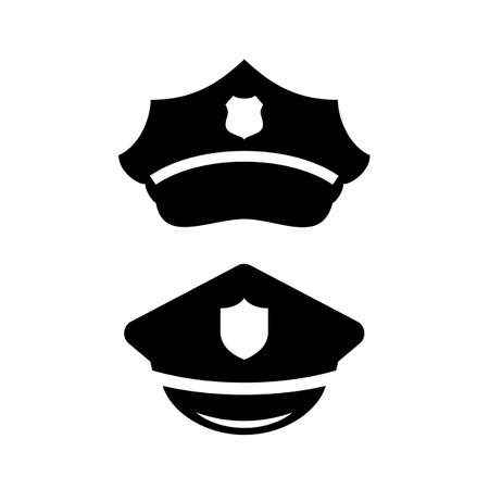 Policeman peaked cap vector icon set