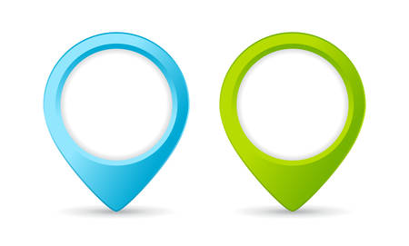 Blue and green location marker vector set