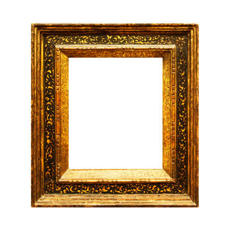 OId faded painting frame isolated on white background