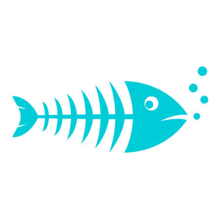 Blue skinny fish vector icon isolated on white background. Illustration