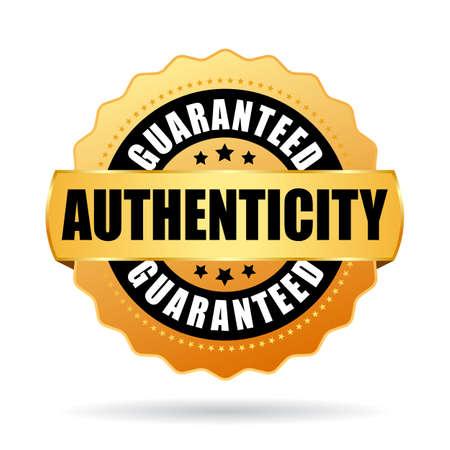 Authenticiteit gegarandeerd gouden vector embleem geïsoleerd op een witte achtergrond.