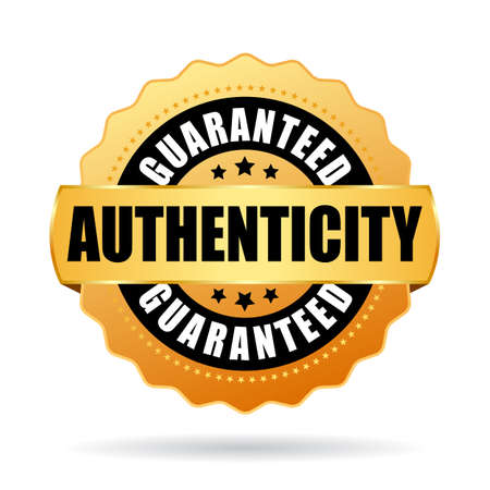Authenticity guaranteed gold vector emblem isolated on white background.