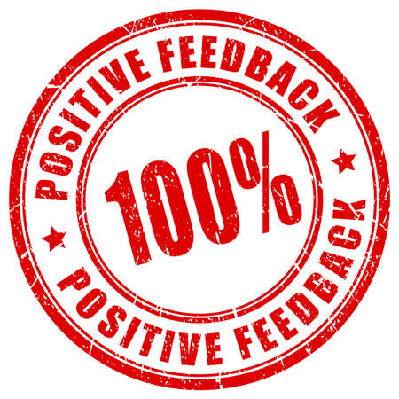 Positive feedback red vector stamp isolated on white background.