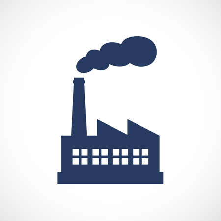 Factory vector web icon isolated on gray background.