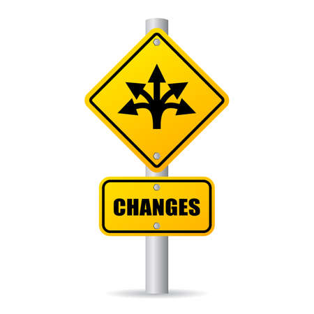 Changes ahead vector road sign isolated on white background.