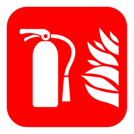 Fire extinguisher vector sign isolated on red background. Stock Illustratie