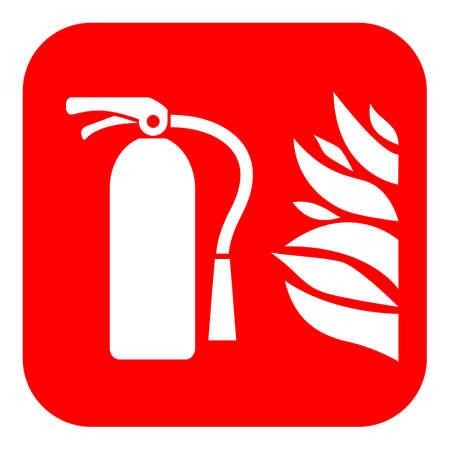 Gaśnica wektor znak na białym tle na czerwonym tle. Ilustracje wektorowe