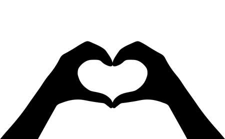 Icona della siluetta di vettore del cuore delle mani isolata su fondo bianco.