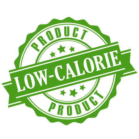 Low-calorie product green vector emblem isolated on white background.