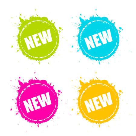 New product promotion splattered icon Stock Illustratie