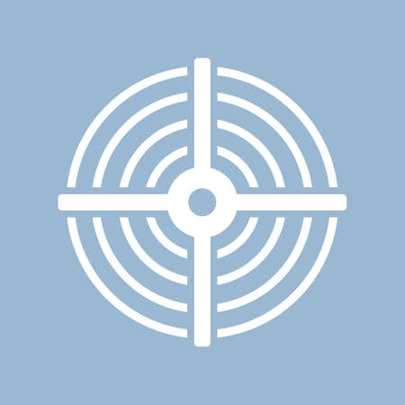 Shooting bulls eye vector icon isolated on blue background.