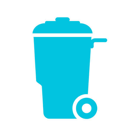 Wheelie trash can vector icon isolated on white background. Illustration