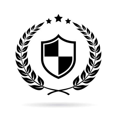 Security certificate laurel vector emblem isolated on white background.