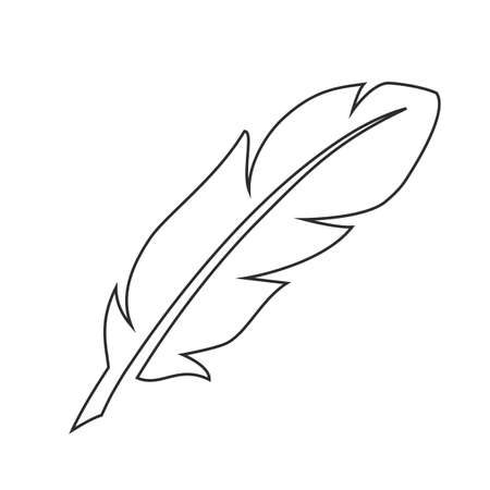 Outline white feather vector icon isolated on white background. Vettoriali