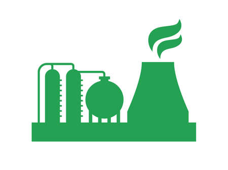 Oil refinery station vector icon Ilustracja