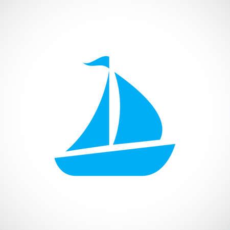 Blue sailboat vector icon Illustration