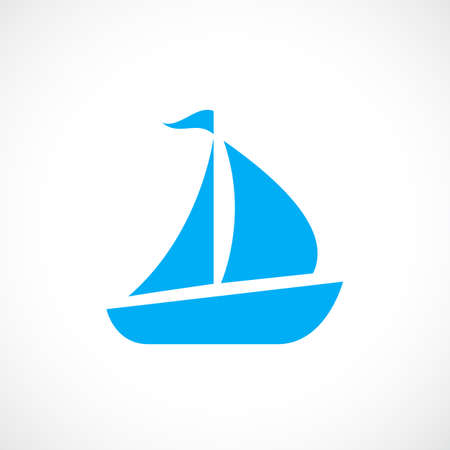Blue sailboat vector icon Illustration