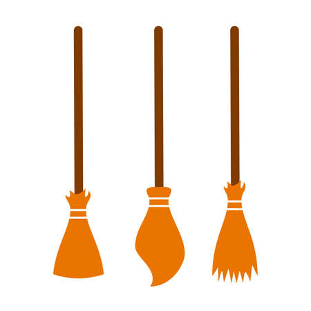 Broom vector icon set Illustration