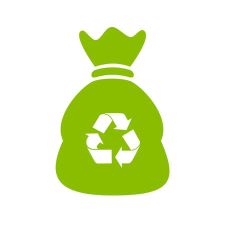 Recycle waste bag  icon Vector illustration.