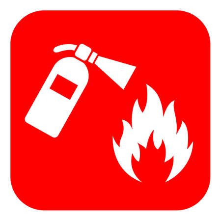 Red square fire extinguisher banner 일러스트