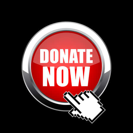Click and donate now round glass web button