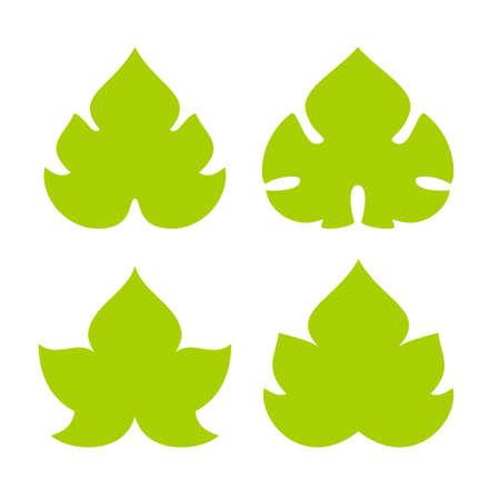Green  leaves   icon set Vector illustration.