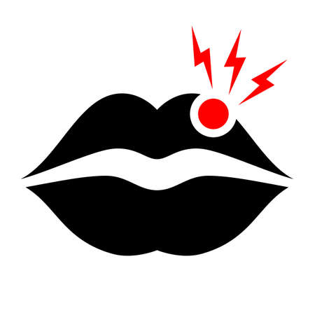 Black lips with red dot  vector icon