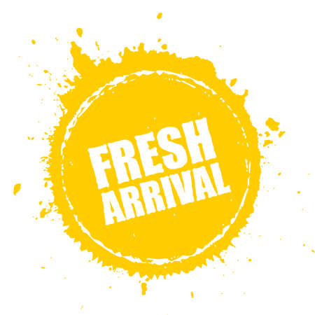 Fresh arrival yellow advertising stamp Design