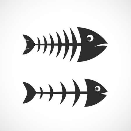 Fishbone frame vector icon set