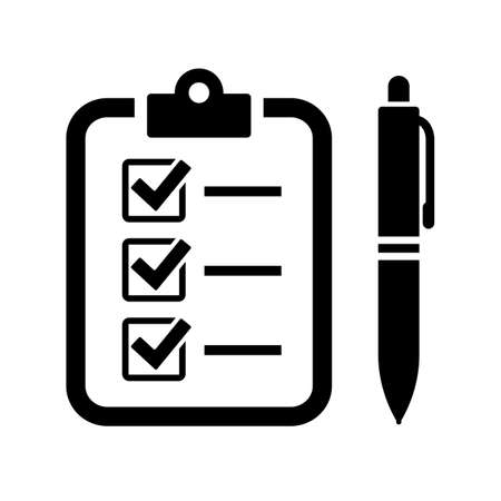 Fill out the form with pen and checklist vector icon Ilustração