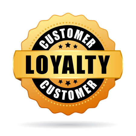 Customer loyalty program gold vector icon