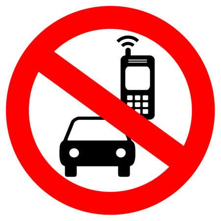 Brak telefonu komórkowego podczas jazdy znak wektora Ilustracje wektorowe