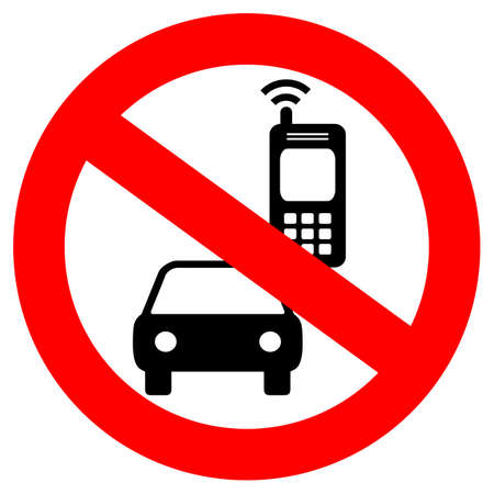 No cell phone while driving vector sign