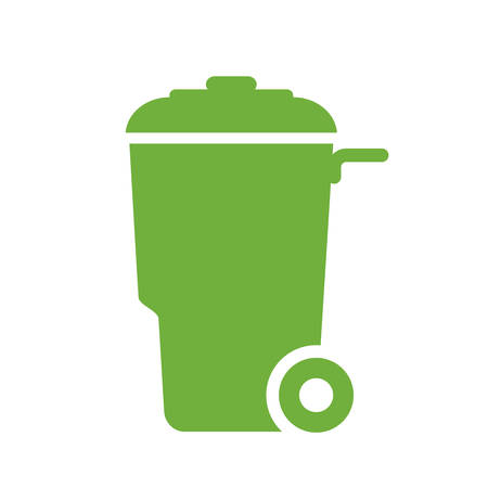 Green  trash bin with wheels container vector icon