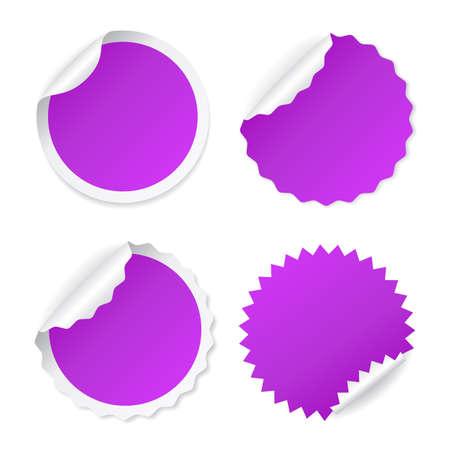Violet color vector sticker set