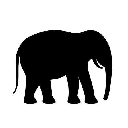 Elephant black silhouette vector icon