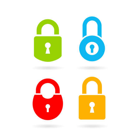 Colorful padlock vector icon set